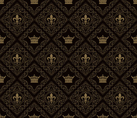 Seamless Damask Wallpaper Vector Art