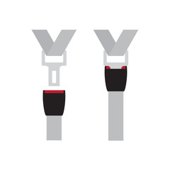 open and fastened seat belts icon- vector illustration