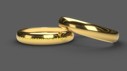 Valentine's day written Rings, 3d rendering