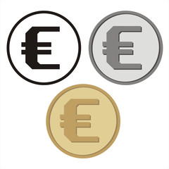 Set of isolated coins with the symbol of the Euro. Vector collection of symbol of the Euro: black, silver and gold.