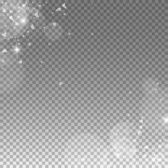 Falling hearts valentine background. Scatter abstract corners on transparent grid dark background. Falling hearts valentines day valuable design. Vector illustration.