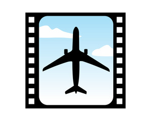 film reel negative plane airport flight airline airway image symbol icon
