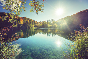 Photo Blinds Lake lake in forest of Croatia