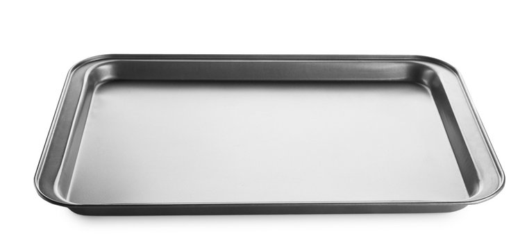Empty baking sheet for oven on white background
