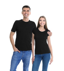 Young woman and man in black t-shirts on white background. Mockup for design