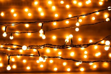 Blurred christmas lights on dark background