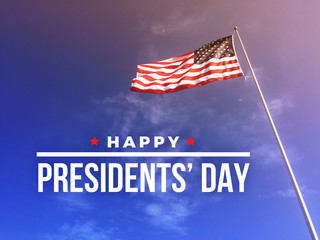 Happy Presidents' Day Text with American Flag Blowing in the Wind Fotomurales