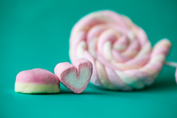 Sweet marshmallows and lollipop on green background