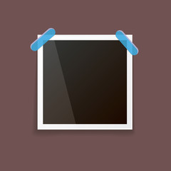 vintage photo frame with shadow isolated on brown background. Vector Photo realistic Mockups with empty space for photo.