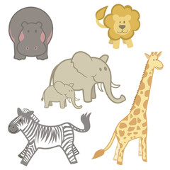 Set of Zoo Animals from Africa
