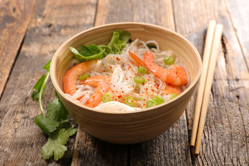 bowl of noodle soup with shrimp