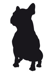 French Bulldog - Vector black dog silhouette isolated