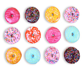 doughnuts on an isolated white background studio shot overhead