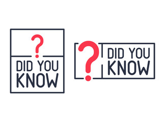 Did You Know Question mark Label. Flat vector illustration on white background. Modern line icon of knowledge post