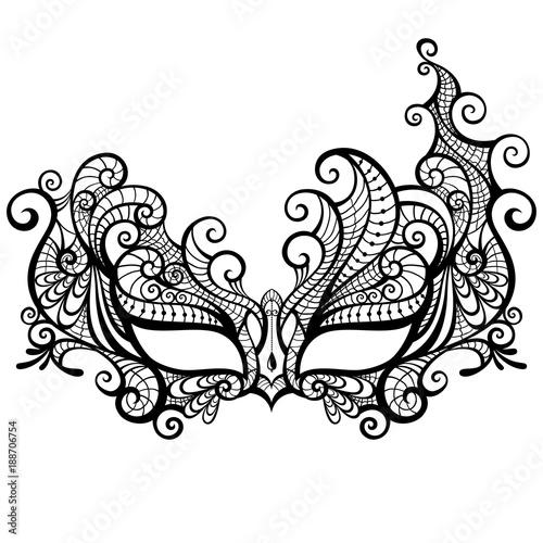 Elegant Asymmetrical Lace Masquerade Mask Isolated On White Background
