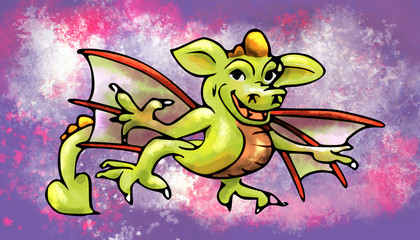 draak vliegende kleurige plaat