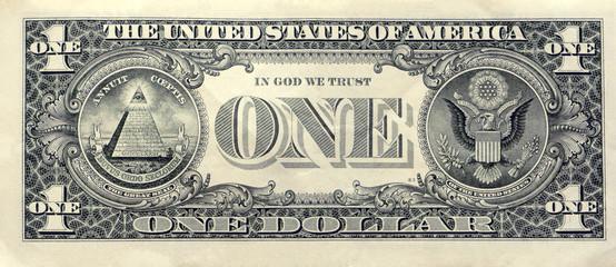 Printed roller blinds Imagination US one dollar bill closeup macro, back side