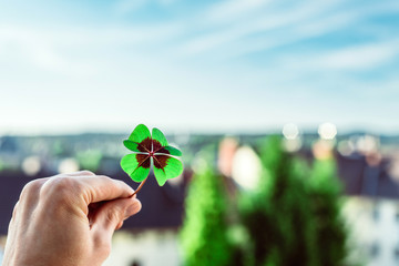 Four leaf lucky clover held by hand against skyline