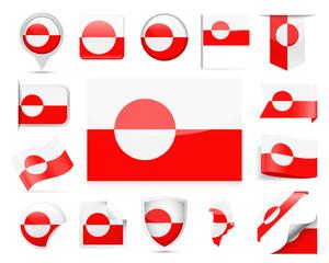 Greenland Flag Vector Set