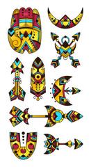 Set of bohemian symbols. Vector illustration of hamsa, arrows, moon, mask,  feather. Decorative and tattoo style.