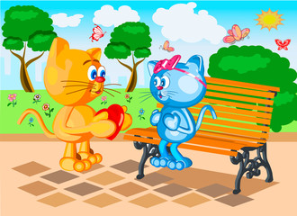cute cat with a heart in her hands congratulates your beloved cat with a day in love on the park bench