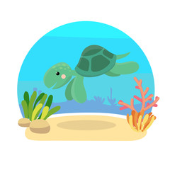 Sea animals with landscape - cute cartoon illustration of turtle