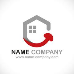 logo constructeur maison positive sourire