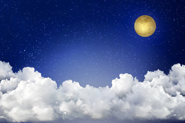 full moon with the starry in the sky with large clouds layer