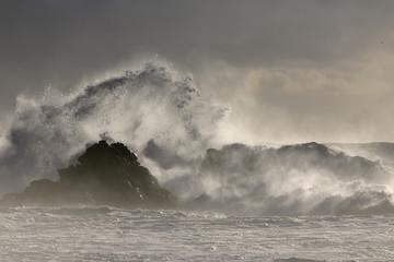 Stormy waves splash at sunset