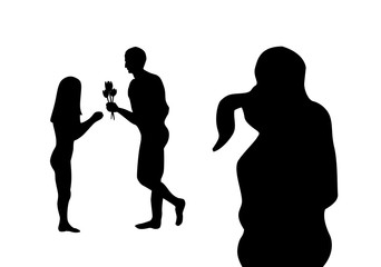 Black valentines silhouette, couple in embrace and man give flower to woman