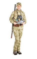 female hunter with plastic duck decoy Isolated on white background.