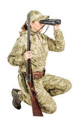 female hunter with double barreled shotgun Isolated on white background.
