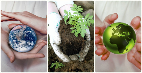 Green planet Earth in female hands. Elements of this image furnished by NASA