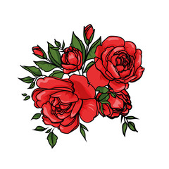 Red rose cartoon vector for design, web, poster. Botanical garden illustration