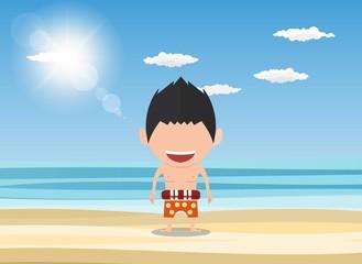 Vector illustration of a happy face man. a concept of balancing life holiday at sea, enjoy summer holidays