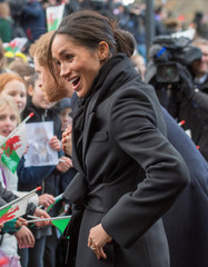 Britain's Prince Harry's and his fiancee Meghan Markle visit Cardiff Castle in Cardiff