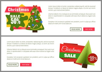 Christmas Sale Buy Now Posters Vector Illustration