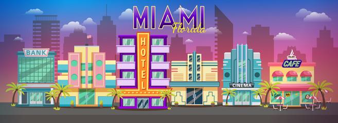 Old Miami skyline panorama at sunset. Retro city retro cityscape, retro background miami florida skyline. Banner for site