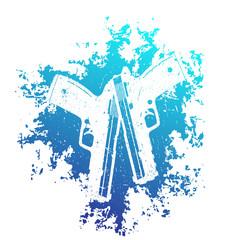 2 pistols on blue grunge splash, t-shirt print with handguns, two crossed guns
