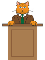 A cartoon cat in a suit is at a podium giving a talk