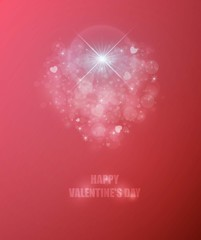 Happy Valentine's day Abstract bokeh hearts red color vector background