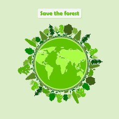 Vector image of a map of the earth and forest animals in green tones
