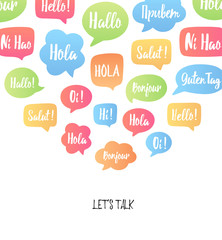 Color speech bubbles poster. Vector illustration with hello in different languages: hi, hallo, bonjour, hola etc. Communication with people from different countries concept. Good for language courses