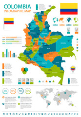 Colombia - infographic map and flag - Detailed Vector Illustration