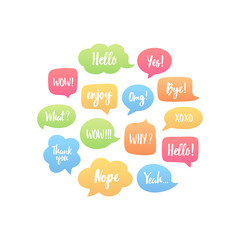 Trendy color speech bubbles set with short popular messages: yes, thank you, bye, omg, wow, xoxo, yeah, hello. Vector illustration in circle.
