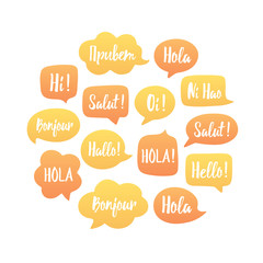 Yellow and orange Speech bubbles illustration in circle. Vector background of bubbles with word hello in different languages: hi, hallo, hola etc. Communication people concept. Vector illustration