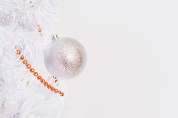 Festive New Year background. Christmas card. Toy on a white background
