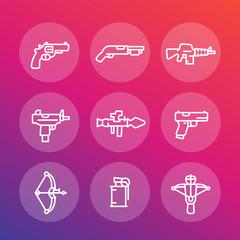 weapons line icons set, pistol, submachine gun, assault rifle, revolver, shotgun, grenade, rocket launcher