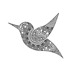 drawing zentangle for bird adult coloring page vector illustration