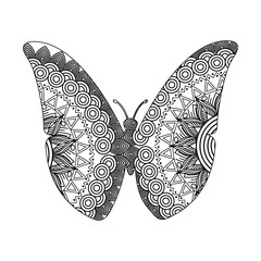 drawing zentangle for butterfly adult coloring page vector illustration